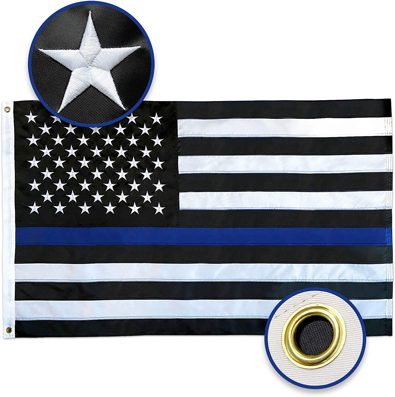 Feezen Thin Blue Line Flag 3x5 USA Flag with Brass Grommets, Embroidered Stars, Sewn Stripes, Black White and Blue American Flag Police Flag Honoring Law Enforcement Officers