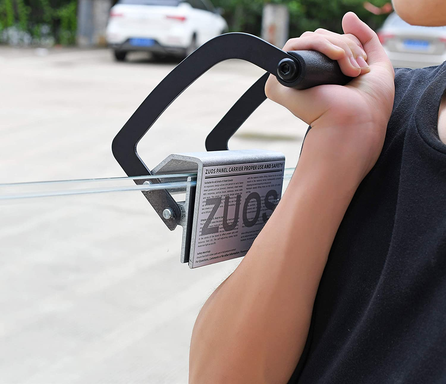 Double handle clamp ZUOS Lift Plywood and Sheetrock Panel Carrier Sheet Goods Carry Handle 0 to 1 1//8 1 PCS Heavy Duty Metal Gripper