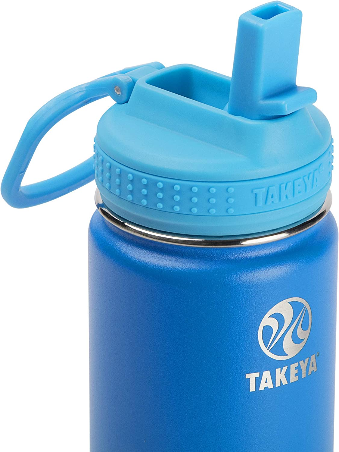 Takeya 51129 Kids Insulated Water Bottle w//Straw Lid Sky 14 Ounce