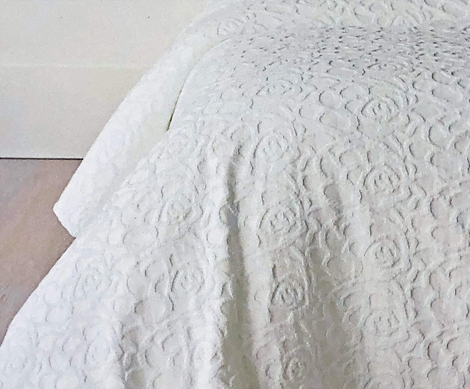 Piu Belle Portugal Bedding Luxurious Queen Size Bed Textured Matelasse Coverlet Solid White With Geometric Textured