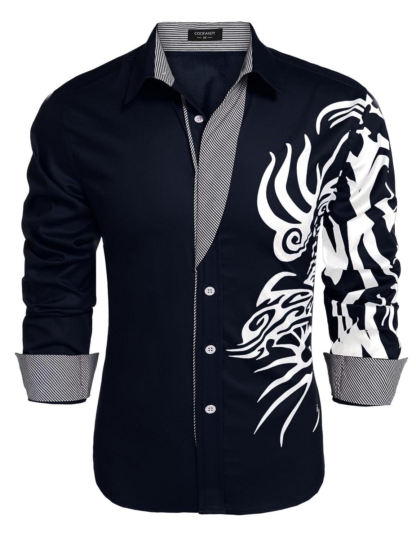 JINIDU Men's Point Collar Print Button Down Dress Shirt Casual Shirt