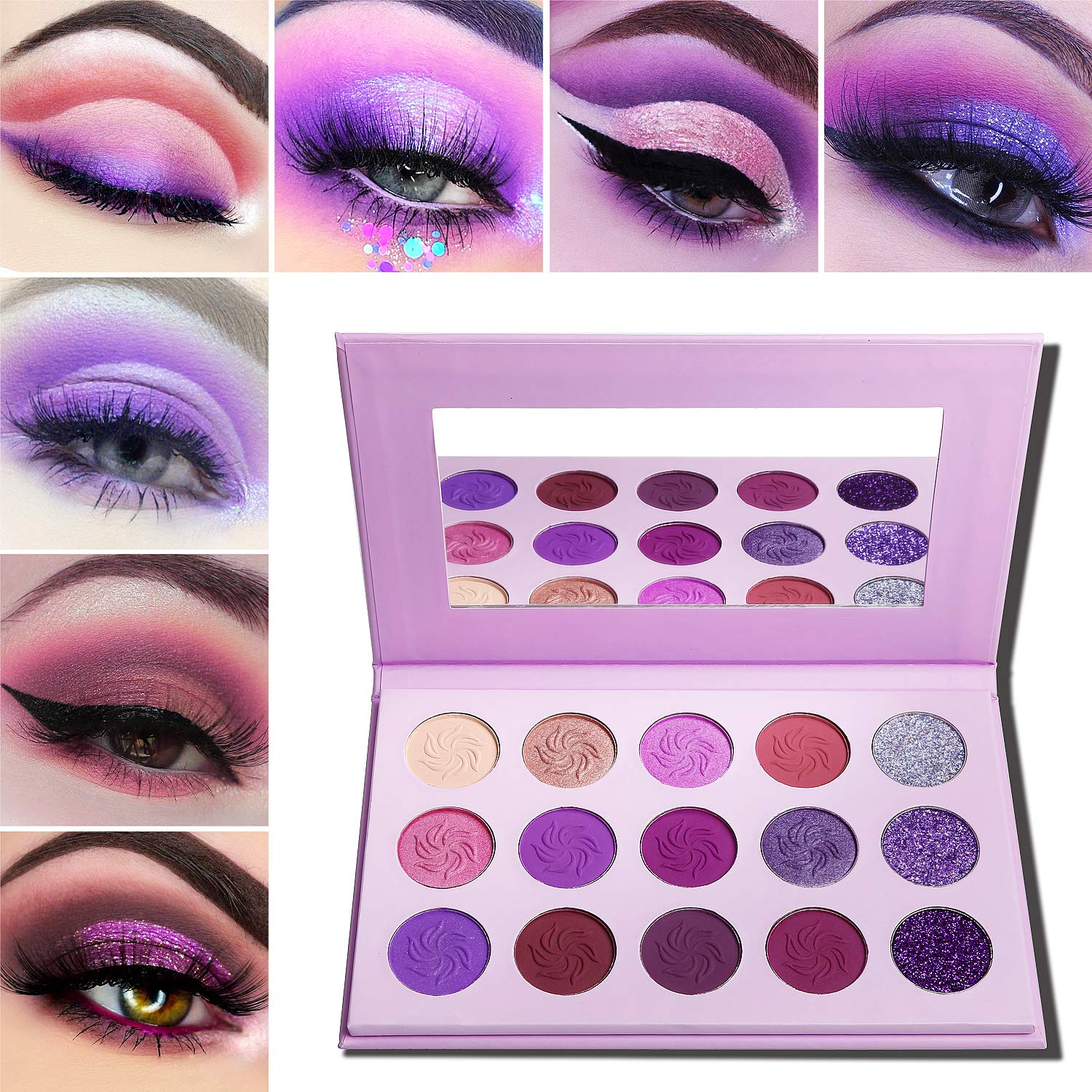 Makeup Palettes Eyeshadow Matte and Glitter,Afflano Professional Highly Pigmented 15 Color,Dream Purple Pink Dark Red Violet Cute Bright Shimmer Small Travel Eyeshadow Pallet Cosmetic for Girls Women