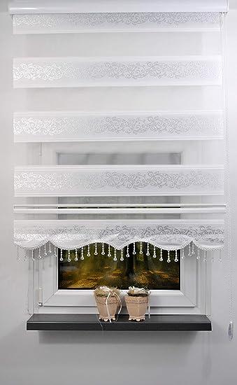 Beliebt plisseeonline Duo Rollo Farbe Doppelrollo Weiss mit silbenen EN58