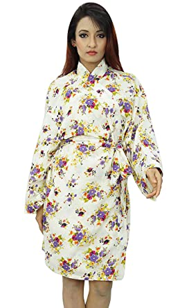 5247737d1f Kimono Indian Crossover Robe Cotton Floral Robes Bride Spa Getting Ready  Wedding at Amazon Women s Clothing store