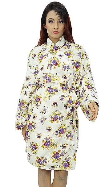Kimono india cruce del traje del algodón floral Batas novia Spa Conseguir boda Listo: Amazon.es: Ropa y accesorios