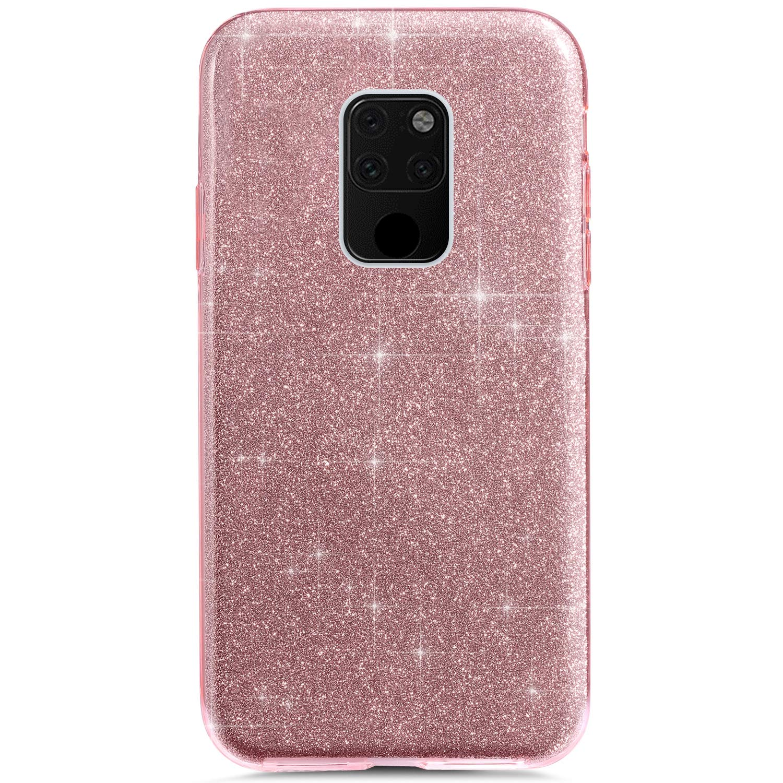 YSIMEE Compatibile con Cover Huawei Mate 20 Custodia,Custodie Glitter Bling Scintillante Brillantini Ultra Sottile Morbida Silicone Gel Trasparente Bumper Gomma Protettiva,Argento Tre Strati