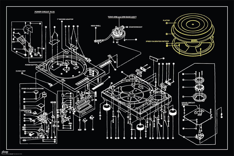 Amazon steez tech 1200 turntable blueprint decorative music amazon steez tech 1200 turntable blueprint decorative music urban art poster print 24x36 posters prints malvernweather Image collections