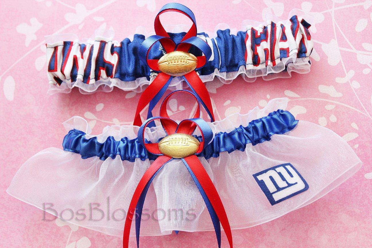 Customizable - New York NY Giants fabric handmade into bridal prom white organza wedding garter set with football charm