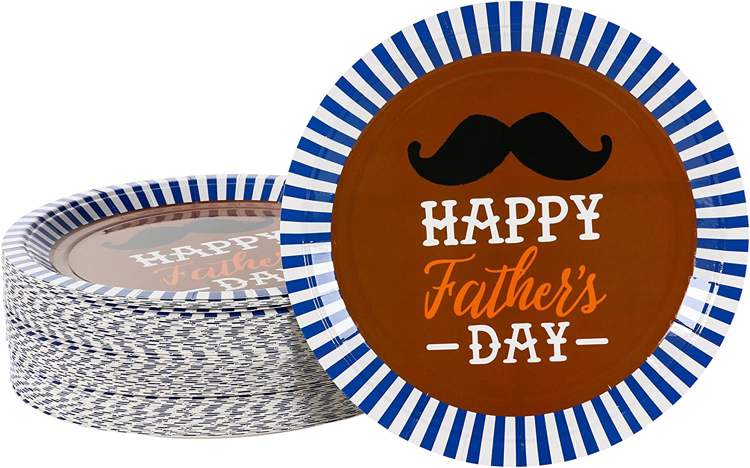 Happy Fathers Day Decorations, 9 Inch Paper Plates (Brown, 80-Pack)