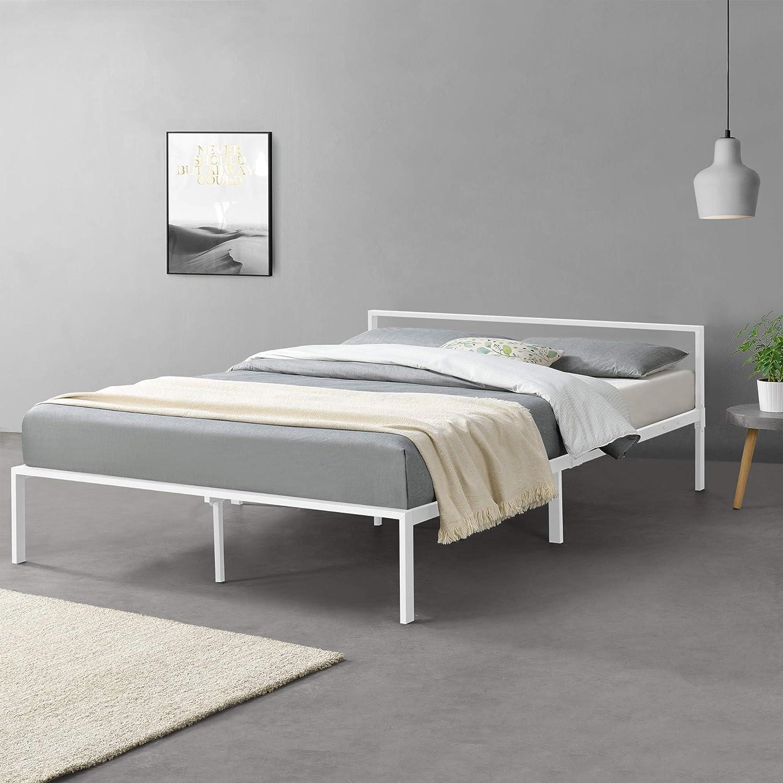 [en.casa] Cama de Metal con Somier Minimalista 160 x 200 cm ...
