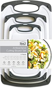 Raj Plastic Cutting Board Reversible Cutting board, Dishwasher Safe, Chopping Boards, Juice Groove, Large Handle, Non-Slip, BPA Free (Set of Three, Gray)