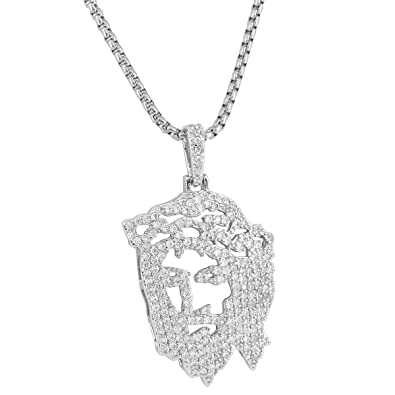 Silver tone ghost jesus pendant full iced out simulated diamonds 24 silver tone ghost jesus pendant full iced out simulated diamonds 24 inch steel chain aloadofball Image collections
