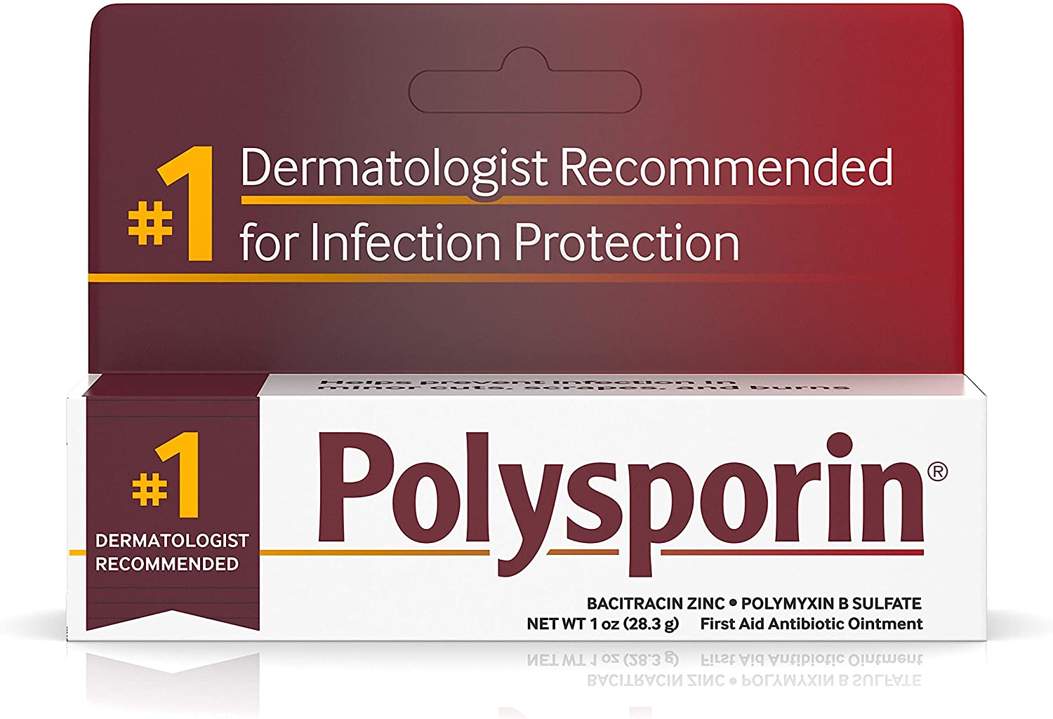 Polysporin First Aid Topical Antibiotic Ointment with Bacitracin Zinc & Polymyxin B Sulfate, For Infection Protection & Wound Care Without Neomycin, Travel Size, 1.0 oz