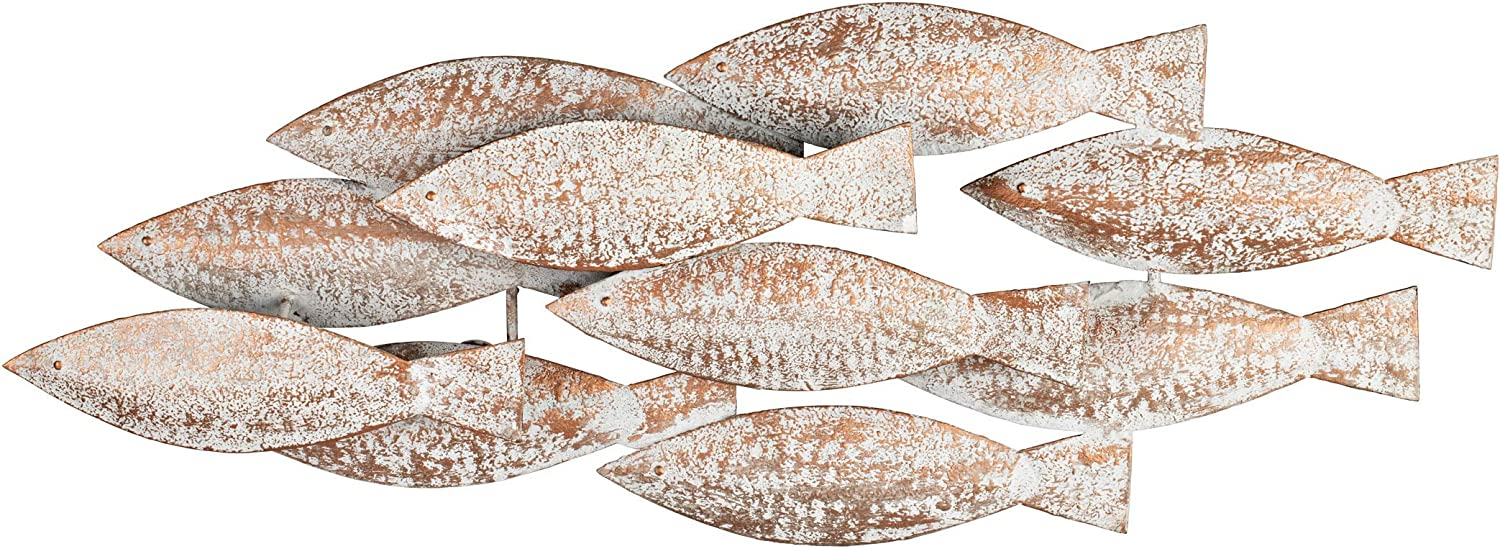 DECOR BIZZ Metal Wall Art - White Wash on Copper Finish - School of Fish Wall Decor - Perfect for Coastal, Beach, Nautical or Patio Wall Sculptures - Ideal Indoor or Outdoor Metal Wall Decor