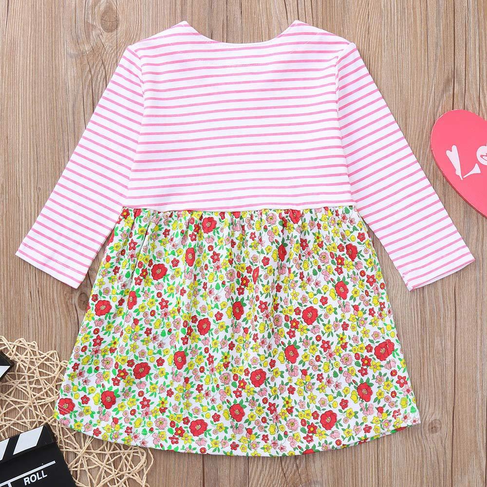 KONFA Teen Toddler Baby Girls Stripes Flowers Dress,Suitable for 1-6 Years,Little Princess Sundress Skirt Clothing Set