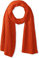 Portolano Men's Cashmere Ribbed Scarf, Rust