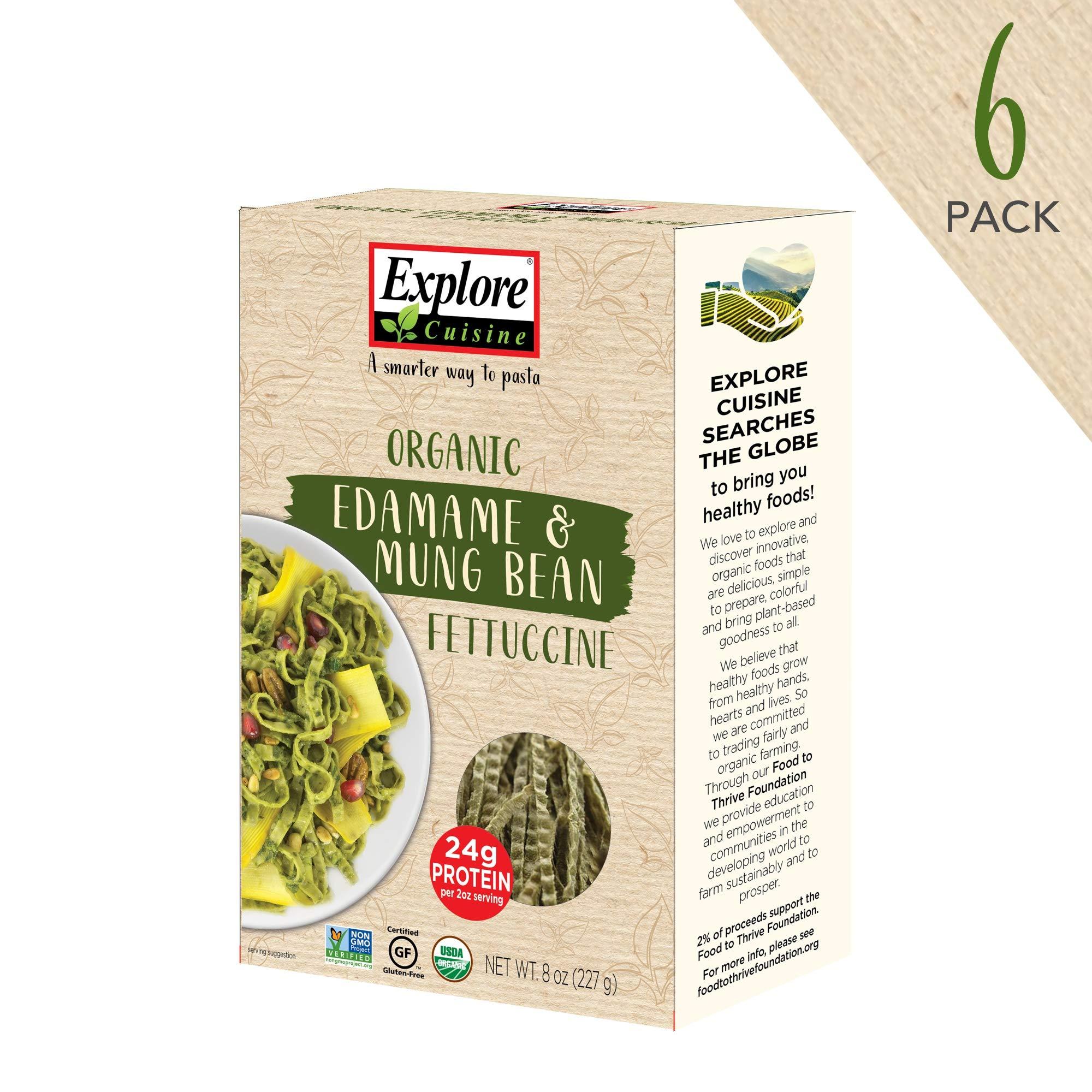 Explore Cuisine Organic Edamame & Mung Bean Fettuccine (6 Pack) - 8 oz - High Protein, Gluten Free Pasta - USDA Certified Organic, Vegan, Kosher, Non GMO - 24 Total Servings by EXPLORE CUISINE