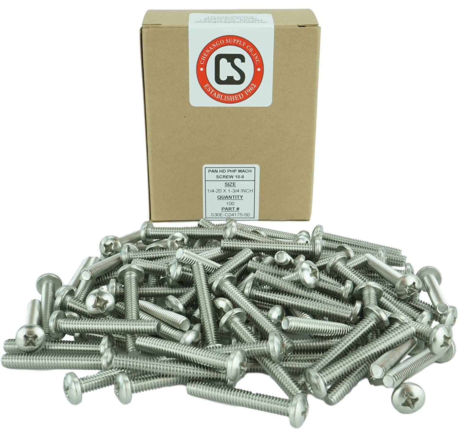 Machine Thread Pan Head Machine Screws Full Thread Stainless Steel 18-8 1//2 to 3 Lengths Available 1//4-20 x 3 Phillips Drive Stainless 1//4-20 x 3