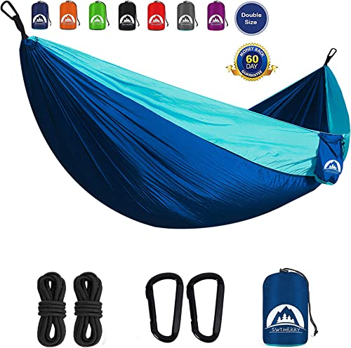 SWTMERRY Hammock Camping Double, Backpacking Hammock with Tree Straps for Backpacking, Travel, Beach, Backyard, Patio, Hiking Deongaree Light Blue