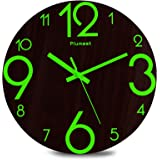 Plumeet Luminous Wall Clocks - 12'' Non-Ticking Silent Wooden Clock with Night Light - Large Decorative Wall Clock for…