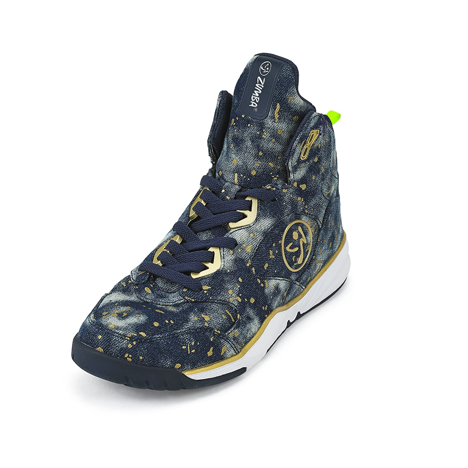Zumba Women's Energy Boom High Top Dance Workout Sneakers with Enhanced Comfort Support B0743WJZTY 6 B(M) US|Paint Splattered Denim