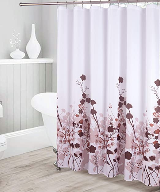 CHOCOLATE BROWN FLORAL FABRIC SHOWER CURTAIN NEW