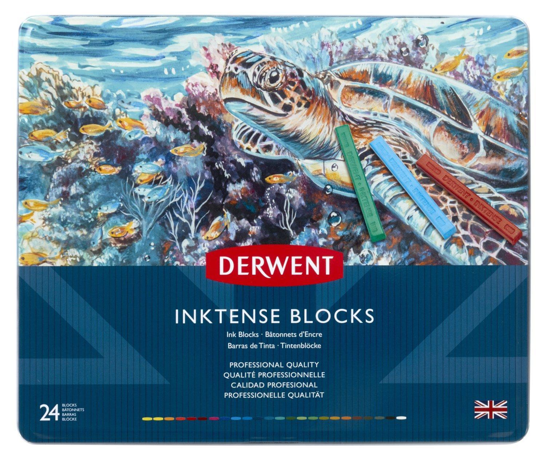 Derwent Inktense Blocks, 4mm Core, Metal Tin, 24 Count (2300443 ...