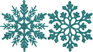 Sea Team Plastic Christmas Glitter Snowflake Ornaments Christmas Tree Decorations, 4-inch, Set of 36, Turquoise