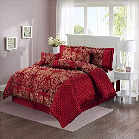 Luxury Jacquard 7 PCS (Pieces) Complete (Sandra Burgundy, King Size 7 Piece  Bedspread) Bedding Quilted Bedspread Bed Sets Comforter Set Bed Throw