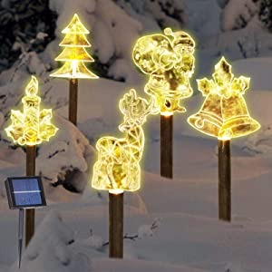 Solar Christmas Stake Lights, Outdoor Solar Garden Lights , Decorative Energy Saving Waterproof Solar Pathway Lights Christmas Decorations for Patio, Walkway, Yard, Lawn (Multiple Shapes)