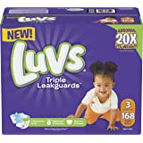 Luvs Triple Leakguards Diapers Size 3, 168 Count