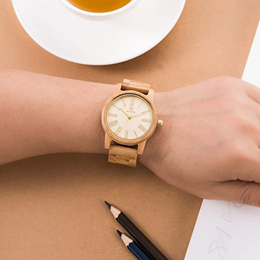 Amazon.com: Bamboo Wooden Watch Men,BIOSTON Natural Handmade Lightweight Unisex Luxury Golden Face Wood Wristwatches: BIOSTON: Watches