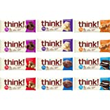 thinkThin High Protein Bars - Variety Sampler Pack, 6 Flavors, 20g Protein, 0g Sugar, No Artificial Sweeteners, Gluten Free, GMO Free, 2.1 oz bar (12 Count)