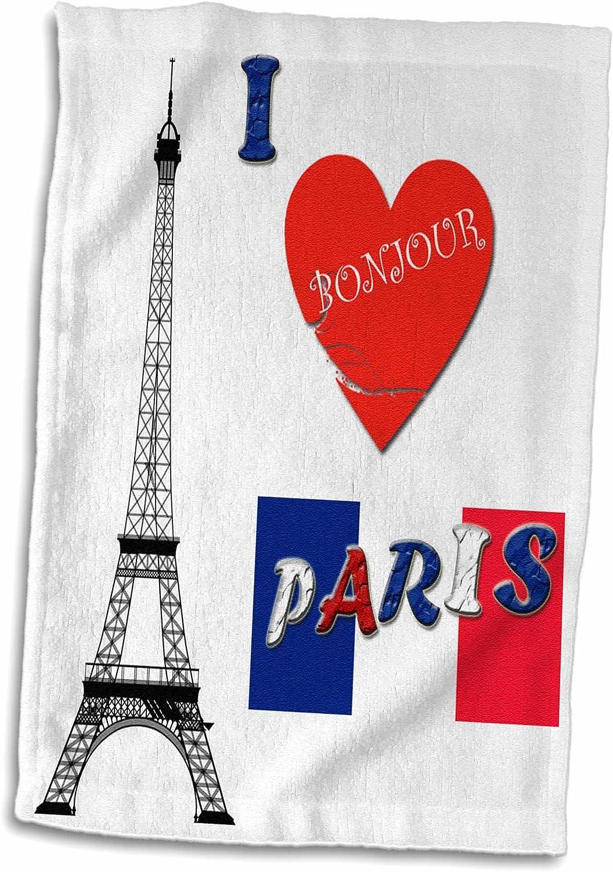 15/x 55,9/cm 3dRose I Love Paris//France//Fran/çais Drapeau//Populaire Dicton Serviette Blanc