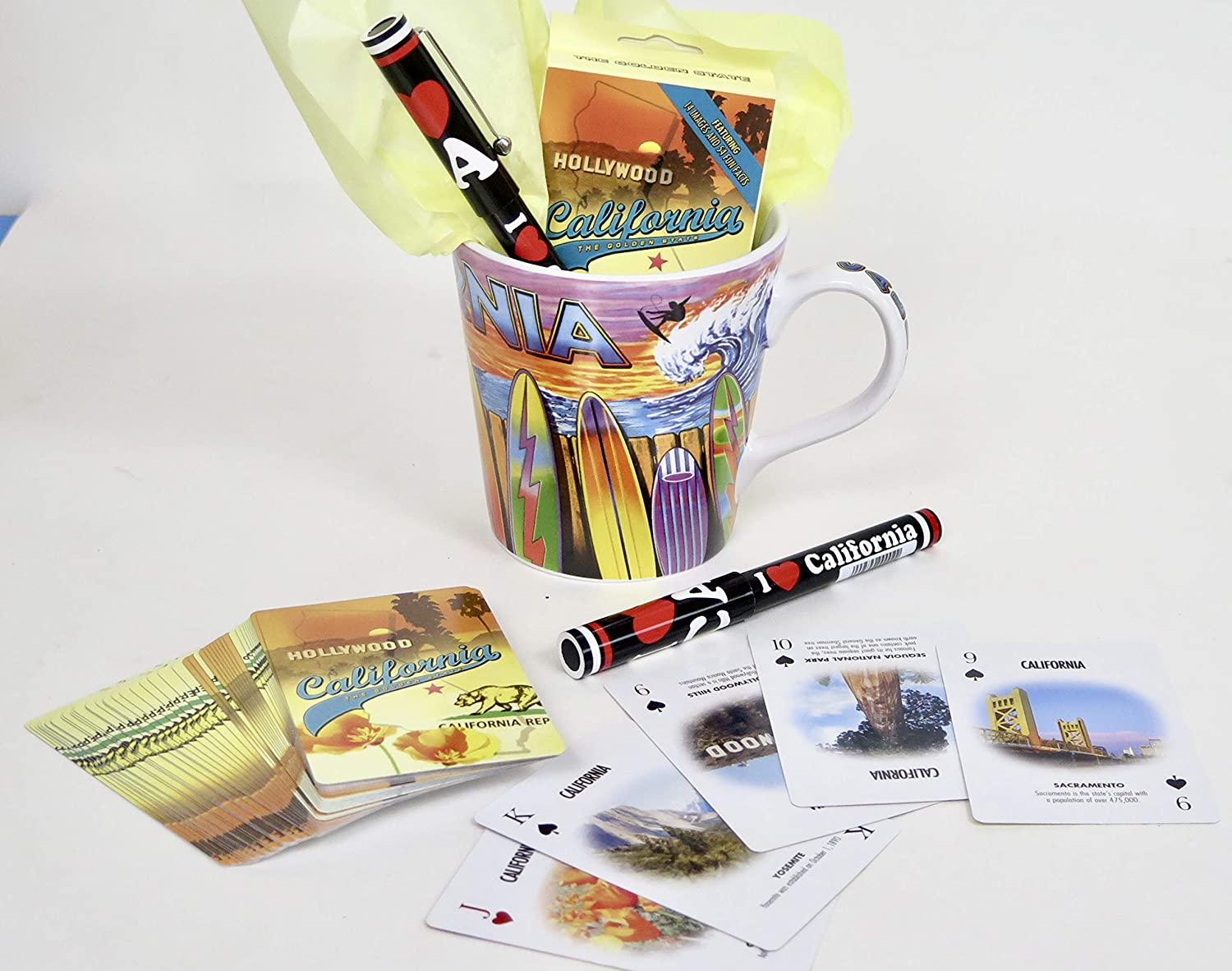 California Souvenir Gift Set Includes Coffee Mug Playing Cards and Pen.
