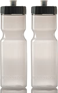product image for 50 Strong Sports Squeeze Water Bottle 2 Pack – 22 oz. BPA Free Easy Open Push/Pull Cap – USA Made (Clear/Black)