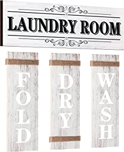 4 Pieces Home Vintage Laundry Room Canvas Wall Art, Rustic Laundry Rules Prints Signs Framed, Bathroom Laundry Room Decor Retro Wash Wall Art for Home Hanging Decor Door Wall