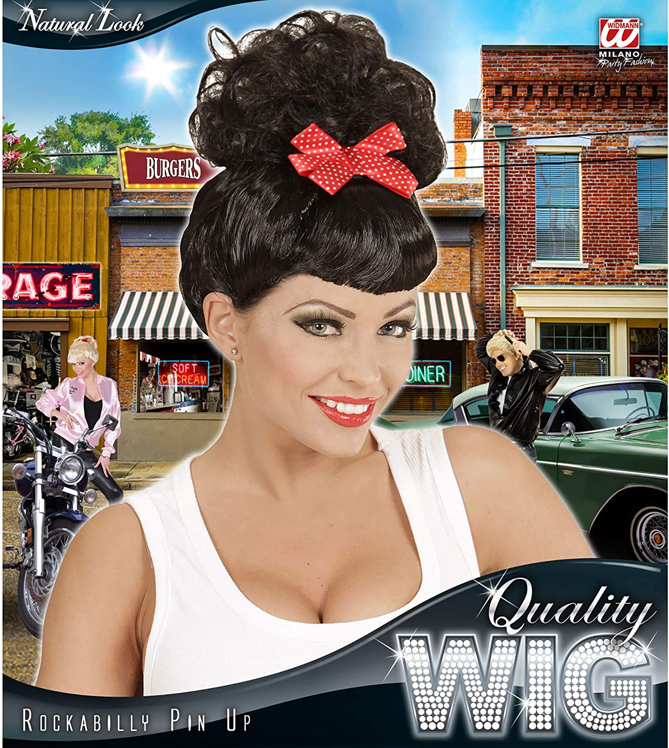 Rockabilly Black Pin Up Girl Wig With Red Bow Fancy Dress Costume Accessory