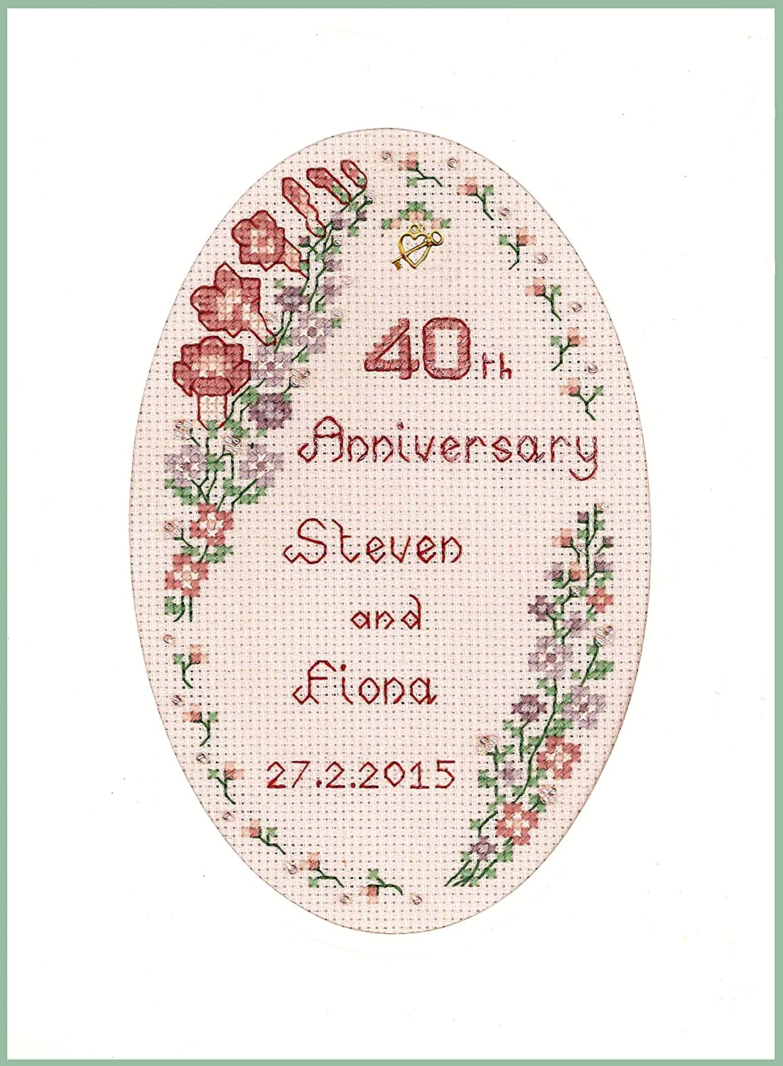 complete kit on 16 aida Cross stitch card for a Ruby Wedding Anniversary
