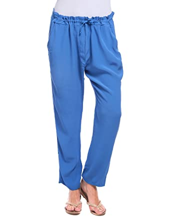 Womens Pantalone MORBIDO Con Coulisse Blu Royal Trousers Isabella Roma