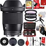 Sigma 16mm f/1.4 DC DN Contemporary Lens Sony E-Mount Bundle with 64GB Memory Card, IR Remote, 3 Piece Filter Kit, Wrist Strap, Card Reader, Memory Card Case, Tabletop Tripod