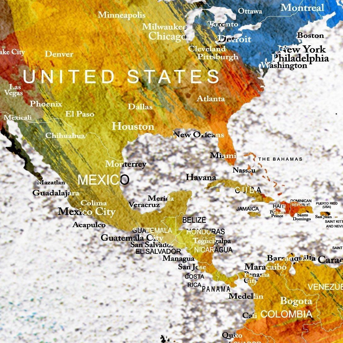 Amazon.com: World Map Wall Art Canvas Print, Push Pin World Map for ...