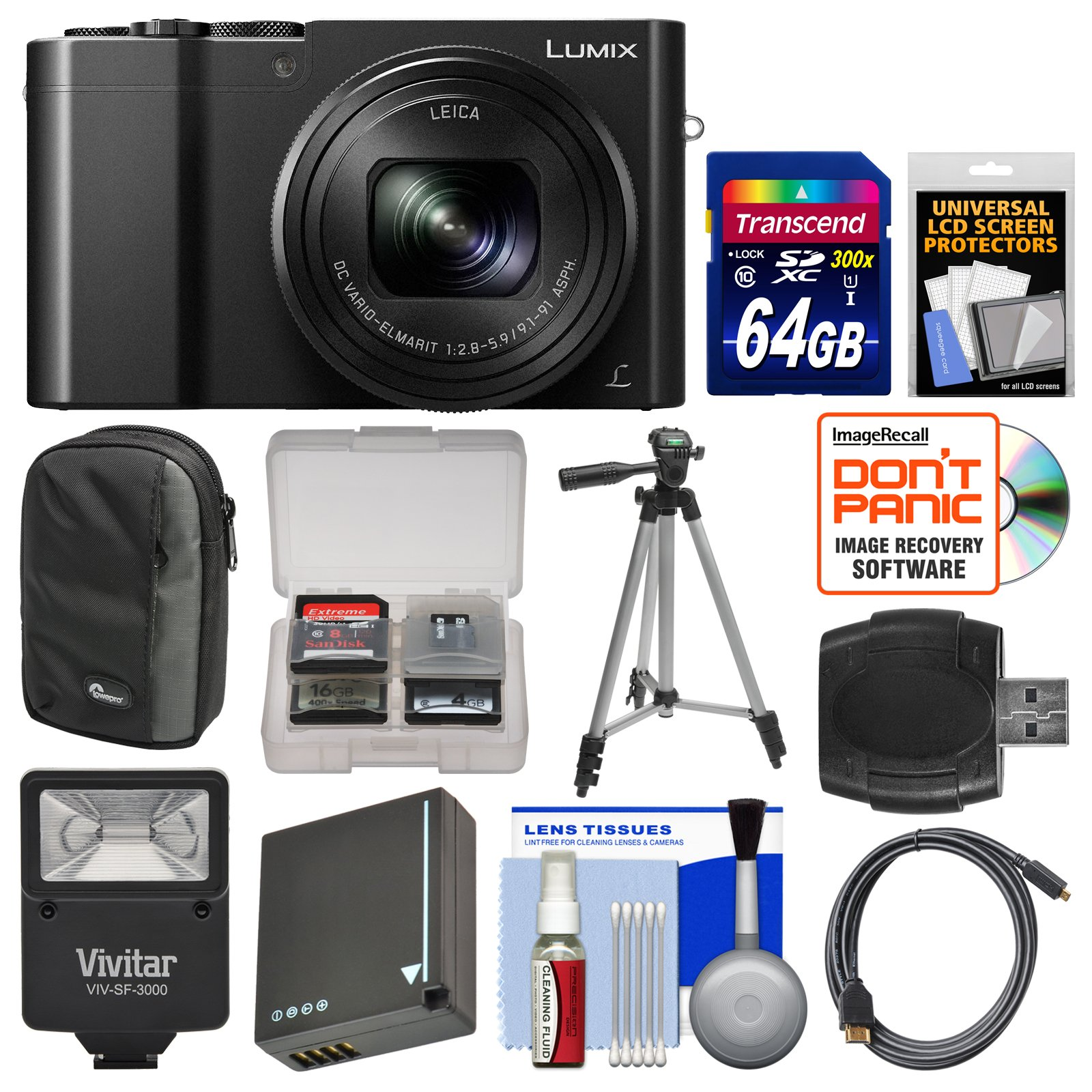Panasonic Lumix DMC-ZS100 4K Wi-Fi Digital Camera (Black) with 64GB Card + Case + Flash + Battery + Tripod + Kit by Panasonic
