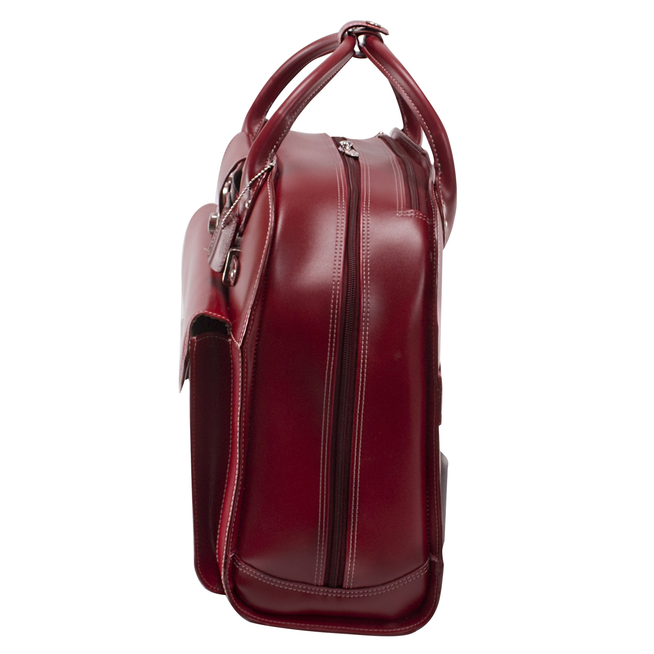 McKleinUSA Edgebrook [Personalized Initials Embossing] 15.4'' Leather Wheeled Ladies' Laptop Briefcase in Red by McKlein (Image #6)