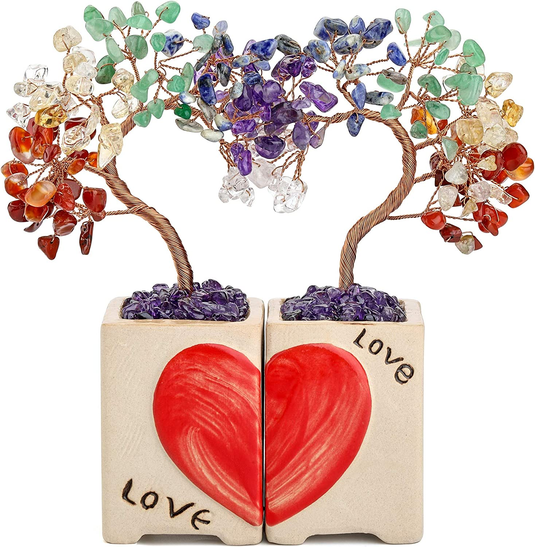 Jovivi 7 Chakra Healing Crystals Copper Money Tree 2pcs/Set Love Heart Shape on Ceramic Base Feng Shui Crystal Tree Luck Figurine Art Ceremony Wedding Decor for Reiki Home Office Living Room
