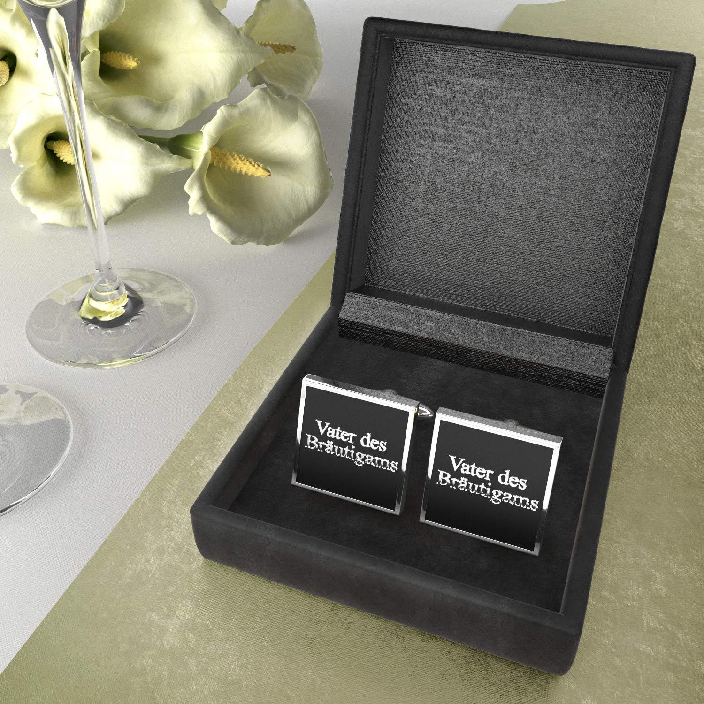 silber in stilvoller Samtbox Manschettenkn/öpfe als Geschenk f/ür Vater des Br/äutigams edel Ihre Hochzeit eckig