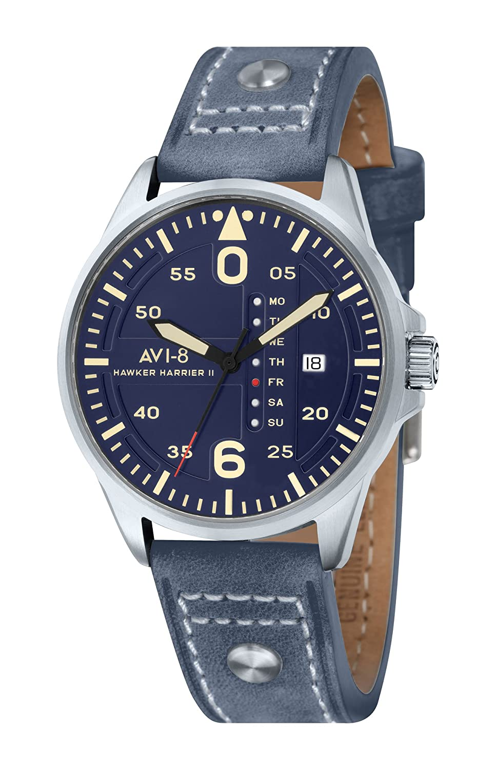 AVI-8 Hawker Harrier II Retrograde Herrenquarzuhr in blau mit blauem analogen Zifferblatt und blauem Lederarmband (AV-