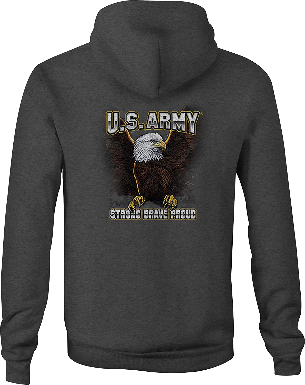 US Army Zip Up Hoodie Strong Brave Proud Hooded Sweatshirt for Men