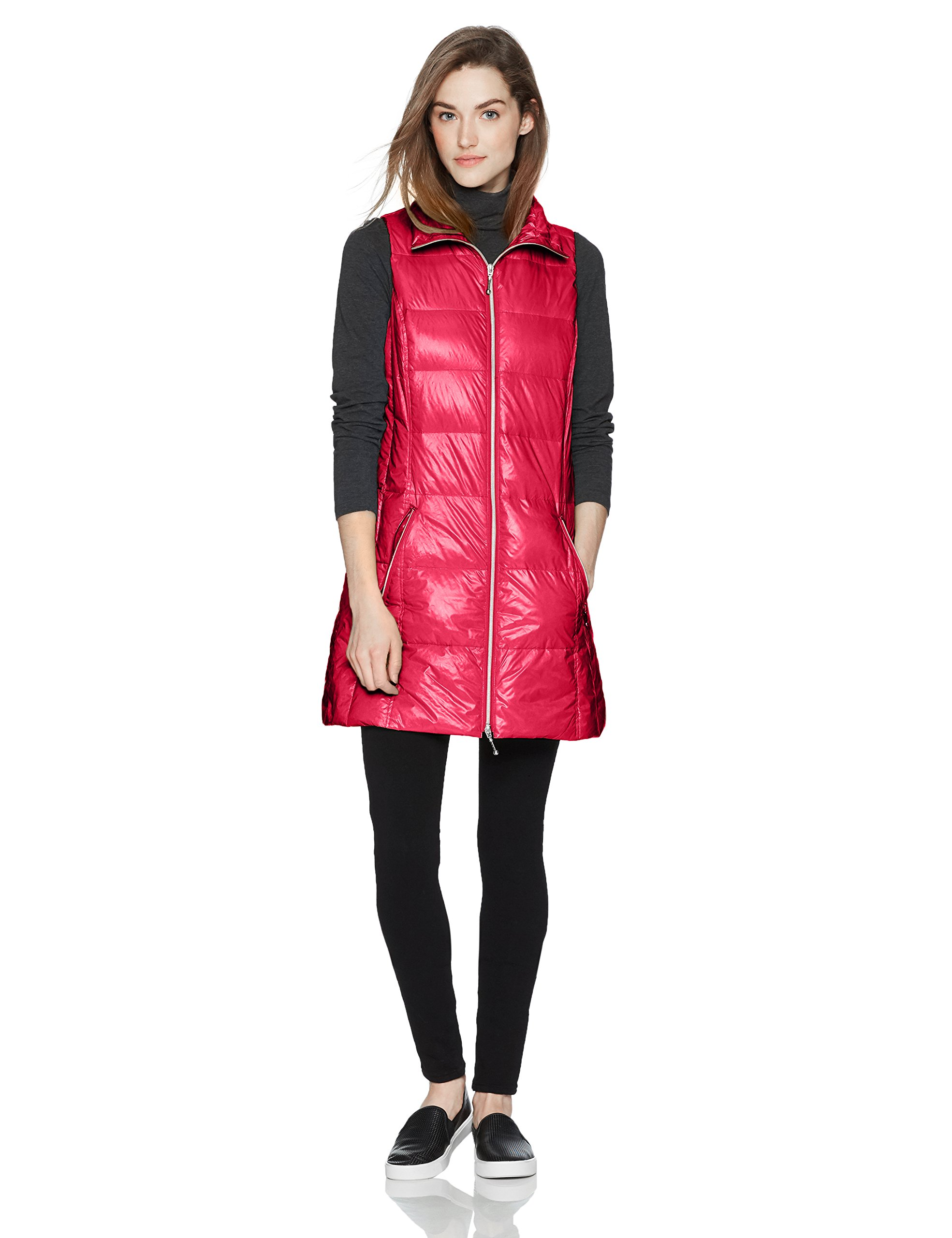 Coatology Women's Classic Long Down Vest, Fuchsia, XS by Coatology
