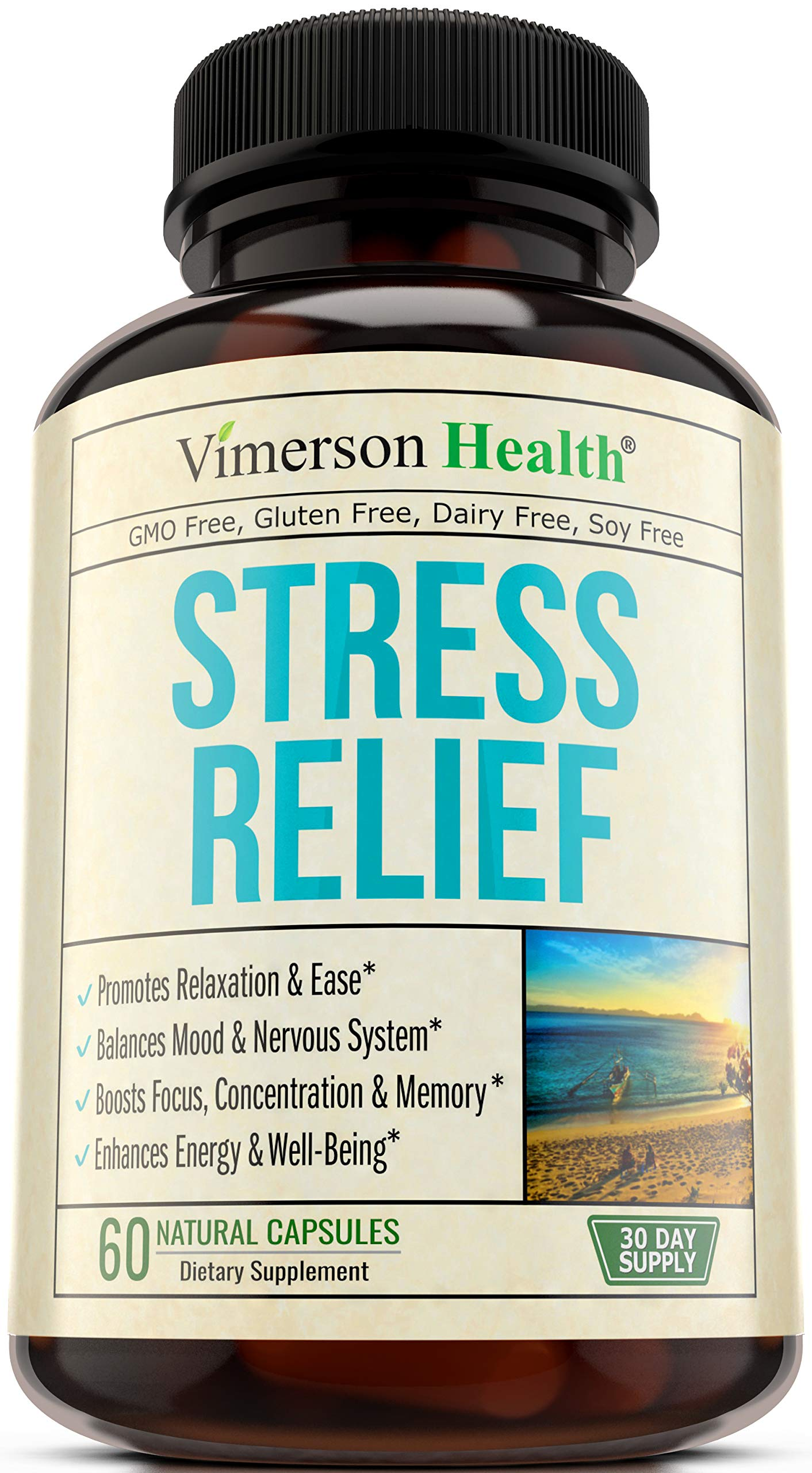 Stress Relief & Mood Enhancer Supplement - Relief from Occasional Anxiety, with Biotin, 5-HTP, Valerian, Lutein, Vitamin B1 B2 B5 B6, L-Theanine, St. John's Wort, Ashwagandha, Chamomile. Niacin, GABA